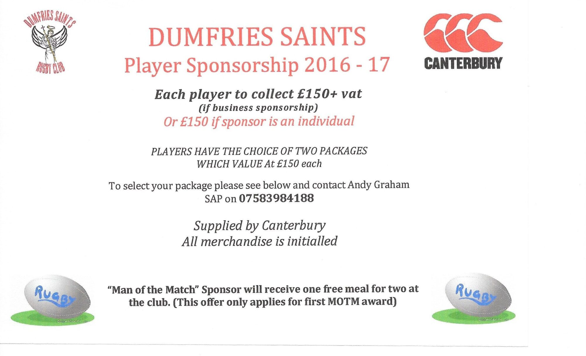 PLAYER SPONSORSHIP 1617