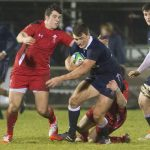 13/02/15 SIX NATIONS CHAMPIONSHIP SCOTLAND U20s V WALES U2Os NETHERDALE - GALASHIELS Scotland's Partick Kelly (centre) is challenged by Owen Watkin
